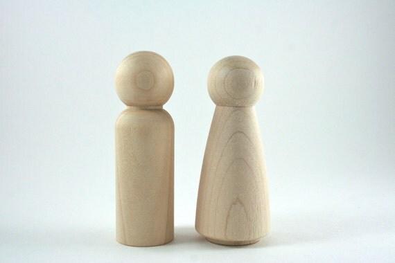 2 Tall Wood Peg Dolls - Waldorf Wooden Figurine - DIY Wedding Cake Topper