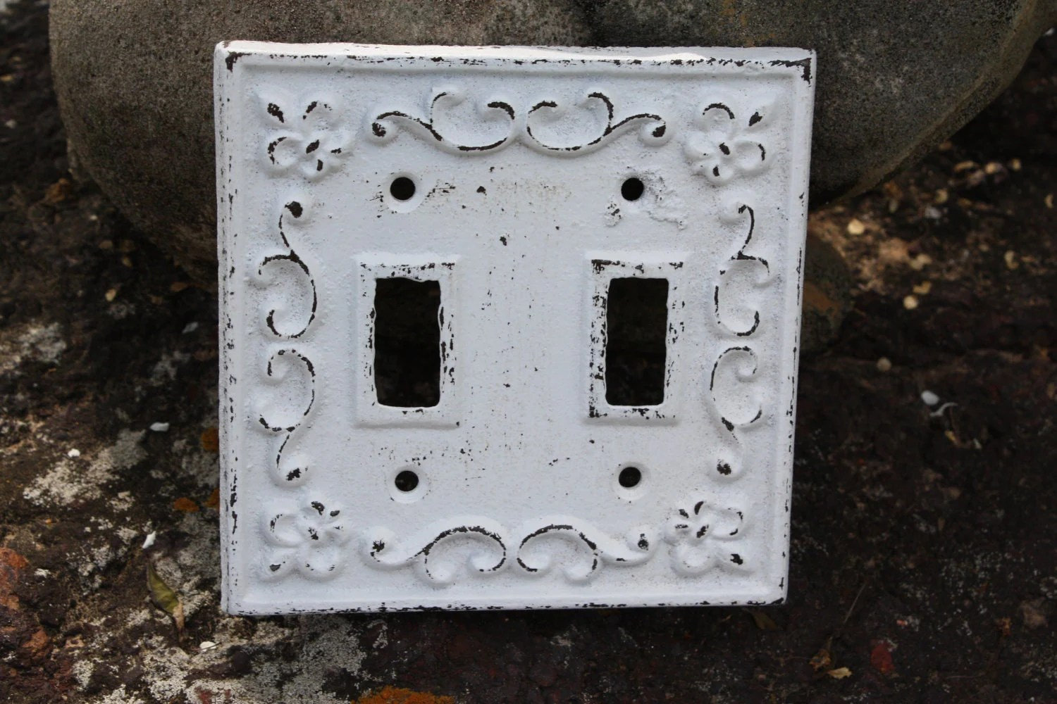 Cast Iron Ornate Double Switch Plate/Fleur De Lis/light Switch