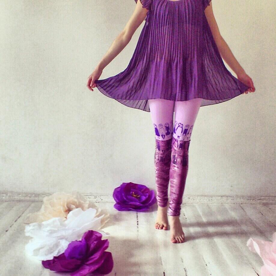 Soft pink and purple animal skin print stocking leggings - ZIBtextile