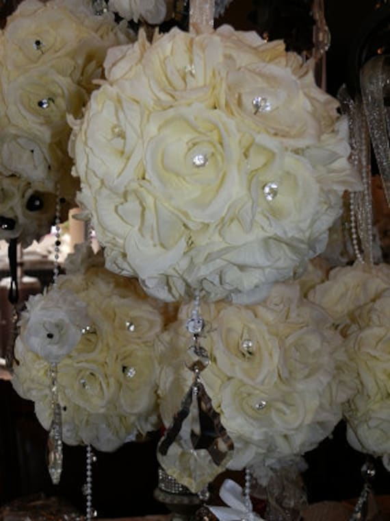 Silk Flower Ball With Hanging Crystals By Elegantweddingdecor
