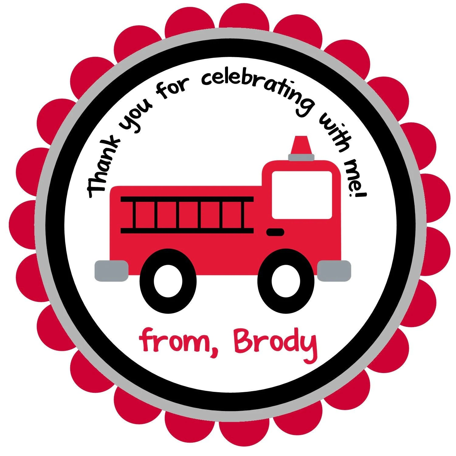 Firetruck Fire Truck Round Labels Stickers For By Noteablechic