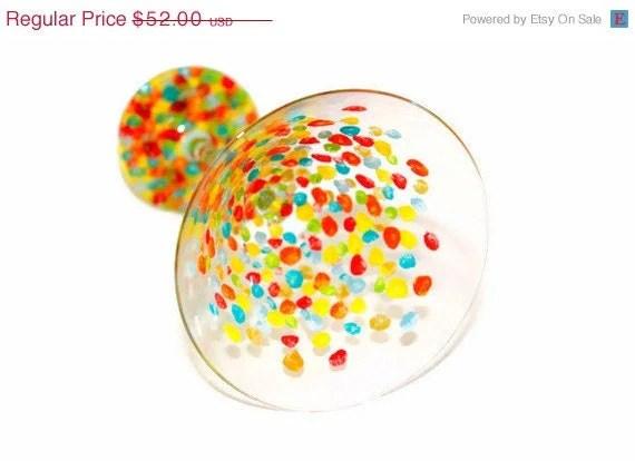 Christmas in July Sale Glassware Set: Ticker Tape Parade Martini Set