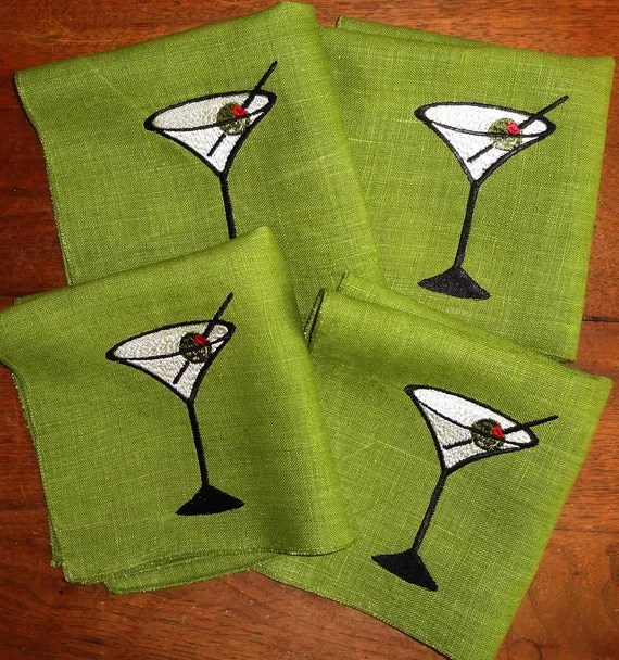 Embroidered Linen Cocktail Napkins with Martini Design, Olive Green, Set of 4, Upcycled Vintage - JensArtifacts