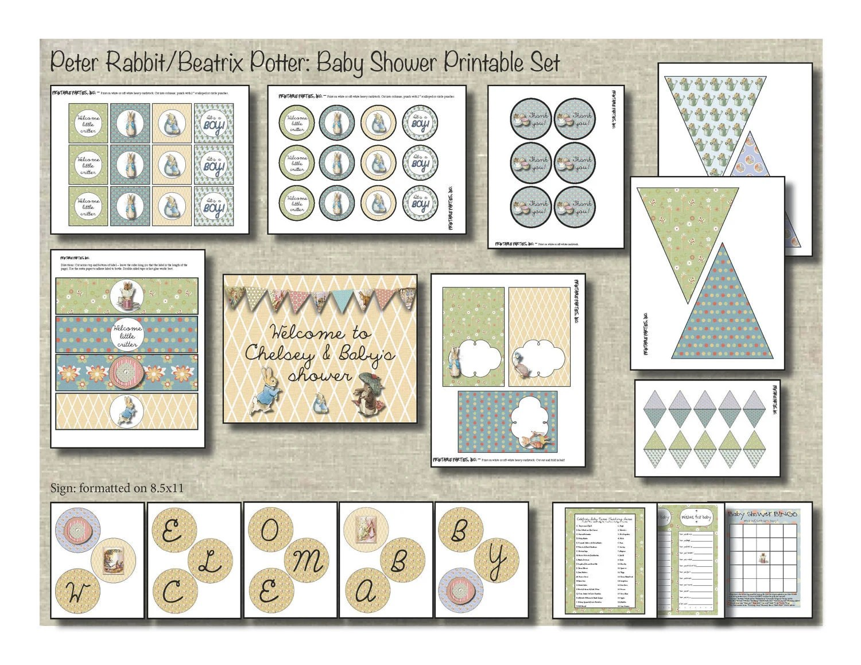 Peter Rabbit Beatrix Potter Baby Shower Printable Set