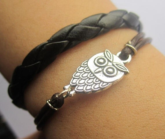 Bracelet--antique silver owl bracelet & double leather chain