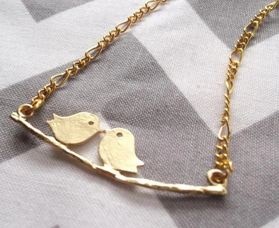 Gold Bird and Branch Necklace, Kissing Lovebirds