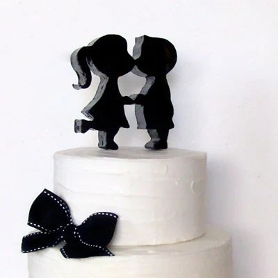 Kissing Couple Silhouette Black