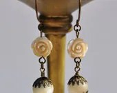 Vintage Mother of Pearl Carved Rose Earrings - Vintage Assemblage