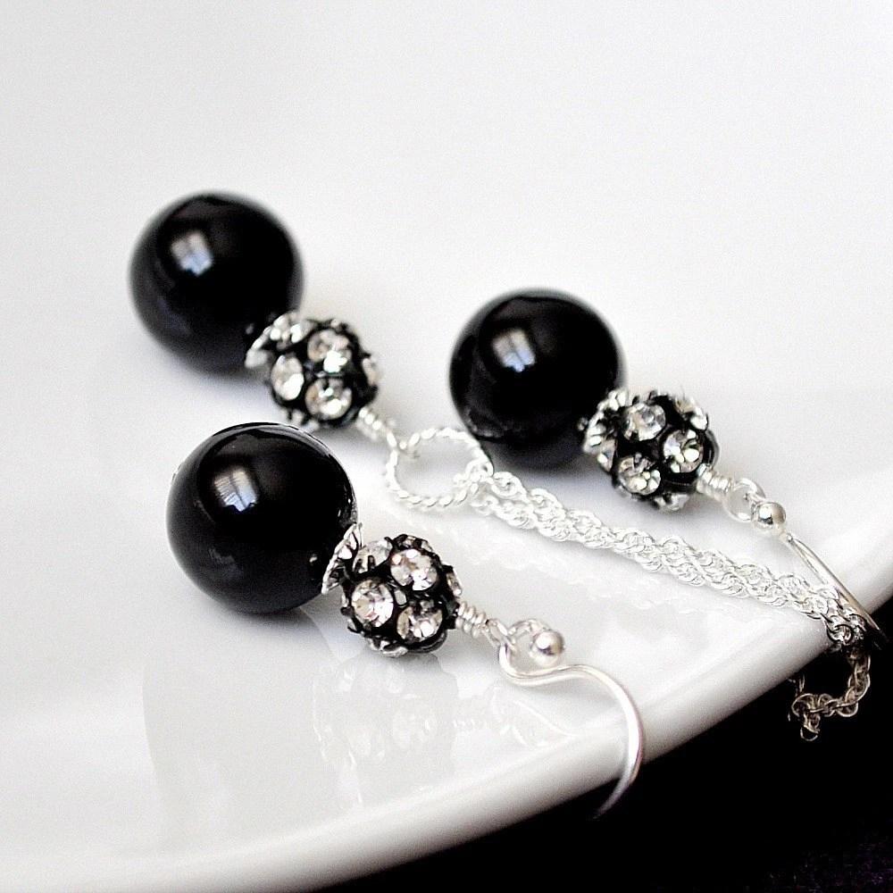 Black Bridesmaid Jewelry Sets Black Pearl Set Bridemaid