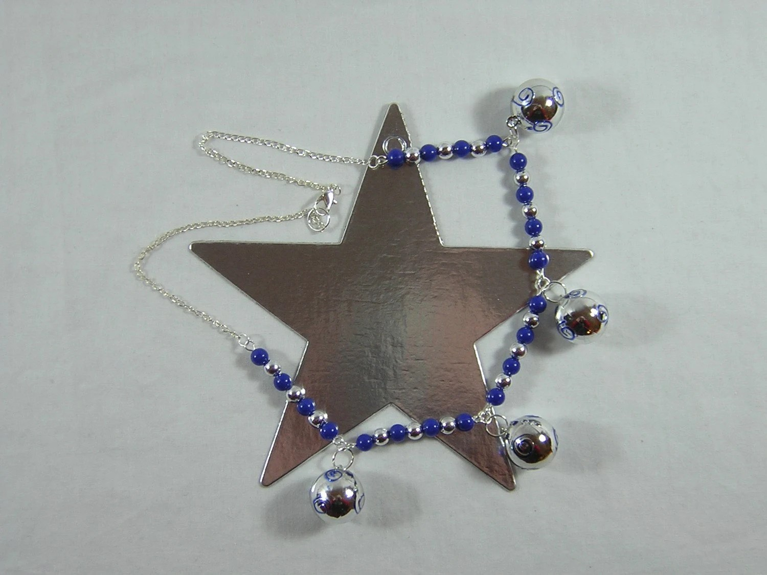 Blue and Silver Ball Necklace - Handmade by Rewondered D225N-99237