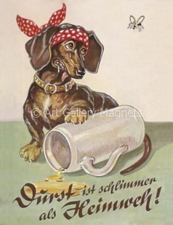 DACHSHUND BEER STEIN Vintage Postcard Art Print Magnet