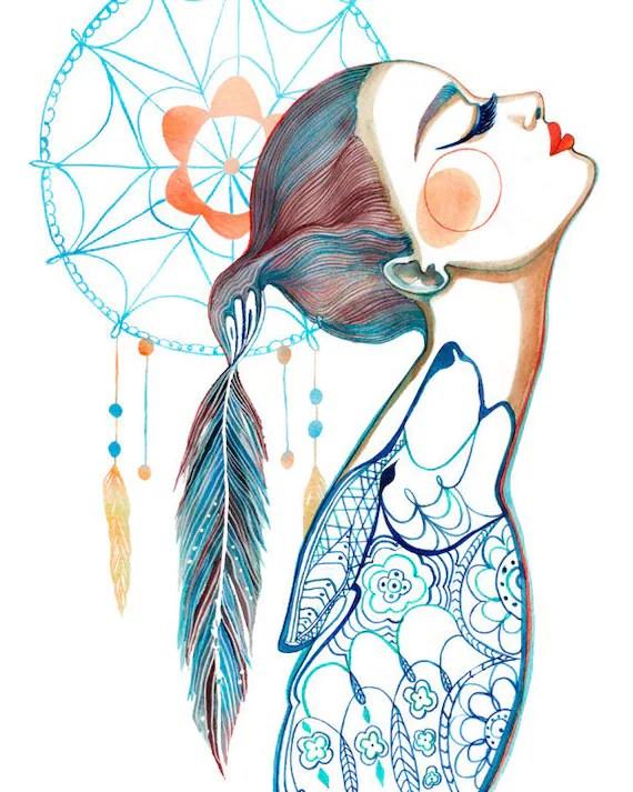 PRINT / Dreamcatcher Art / Wolf/ Feathers