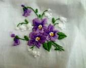 Vintage Embroidered Purple Pansy Handkerchiefs - NOS - PoplarStVintage