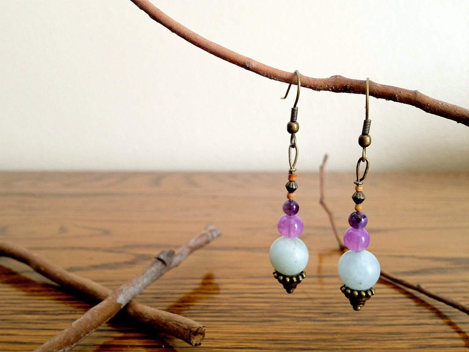 Delicate Handcrafted Dangle Earrings - Amazonite, Glass, Brass, & Wood - Purple Mint - NataDulce