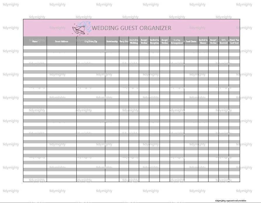 Wedding Guest Organizer / Tracker Printable PDF INSTANT