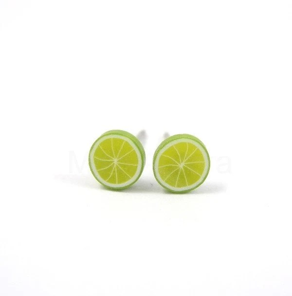 Lime Earring Studs - Green Earring Posts - Miniature Fruit - Polymer Clay - Free Shipping Etsy - MistyAurora