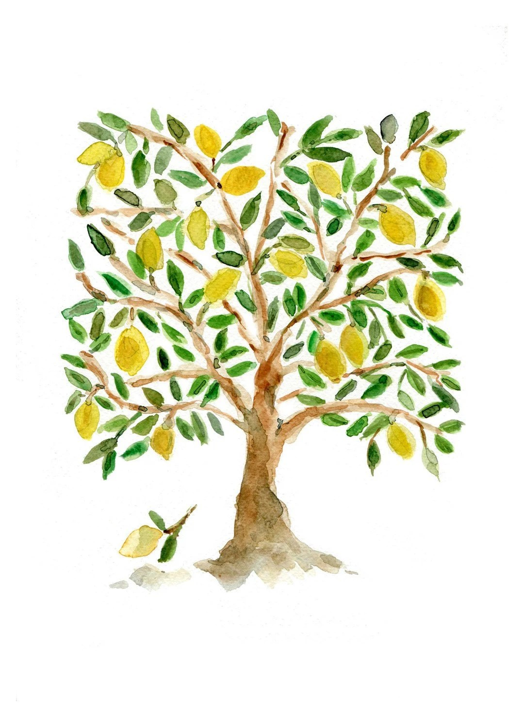 Art Print,The Lemon Tree, Folk Art inspired, print of watercolor painting, green, brown and yellow, limited edition, Mediterranean