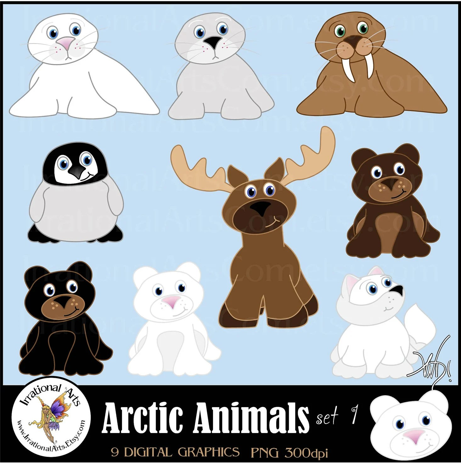 All New Arctic Animals Set 1 Instant Download 9 By Irrationalarts