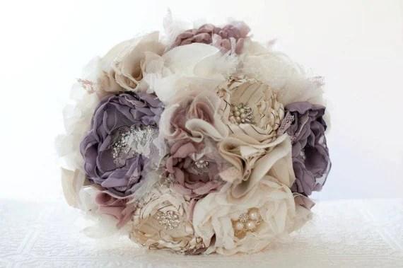 Items Similar To Fabric Flower Wedding Bouquet, Bridal