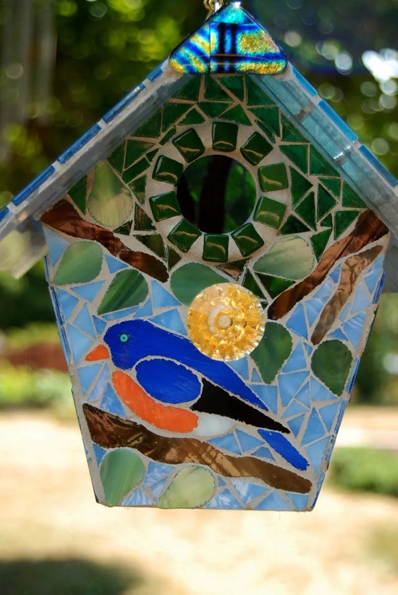 Bird house stained glass mosaic blue bird, bird coloring pages