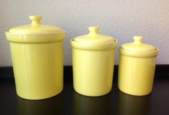 Vintage Set Of 3 Yellow Ceramic Kitchen Canister Set