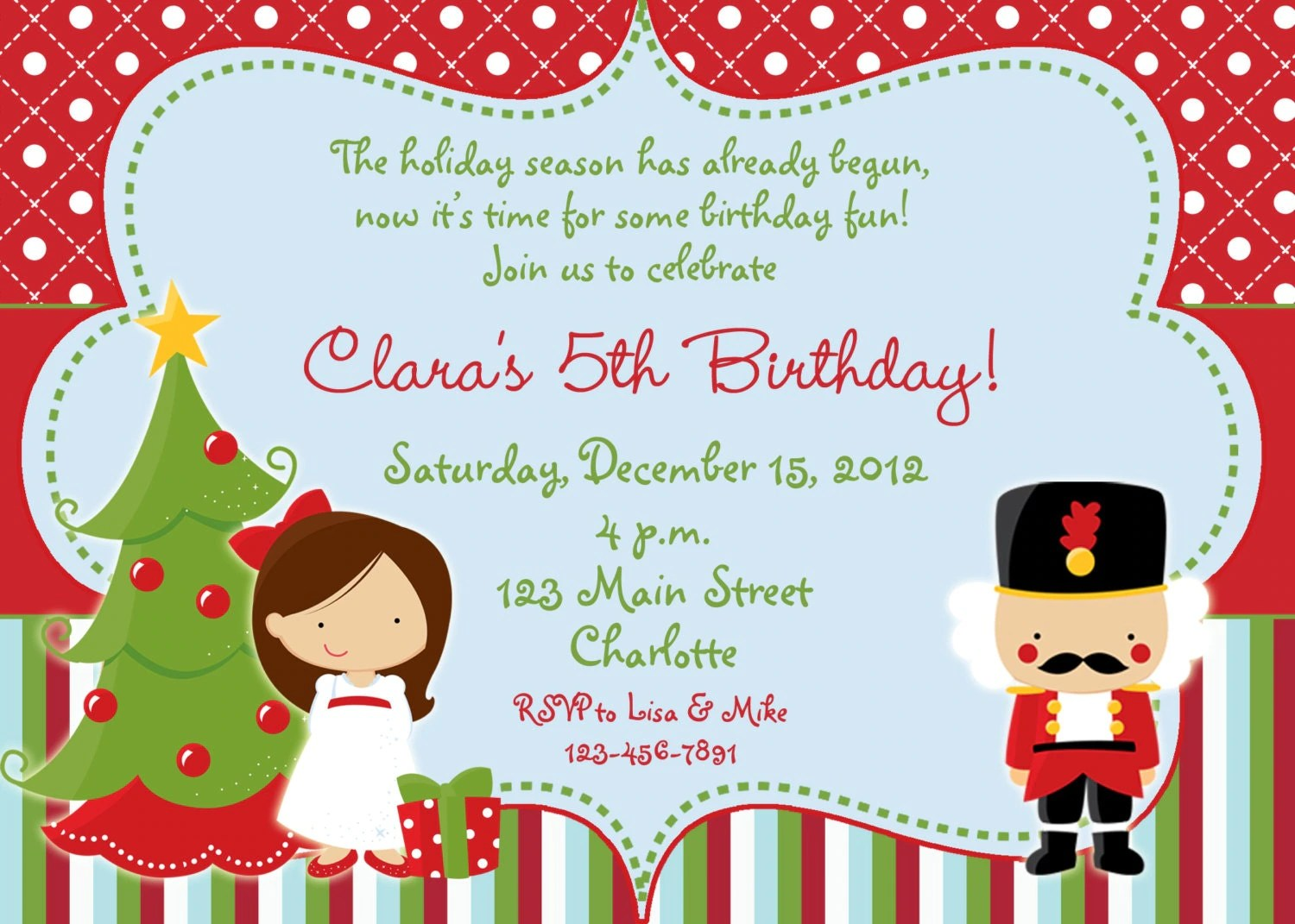 Nutcracker Christmas Birthday Party Invitation Chirstmas Party