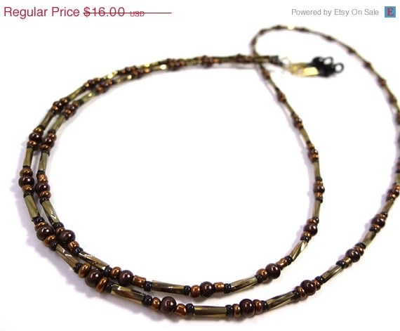 Black Friday SALE Brown and Bronze Eyeglass Chain Lanyard Glasses Necklace - MegansBeadedDesigns