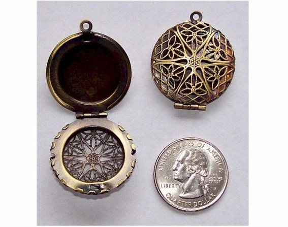 Antiqued Bronze 26mm Perfume Locket Item 469x....closed for vacation ..new orders will ship after January 2nd.. thanks - cameojewelrysupply