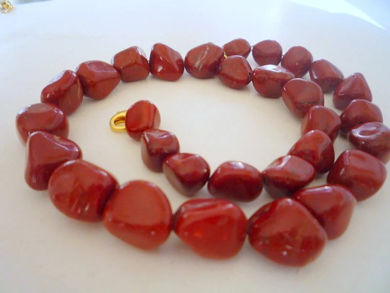 Red Jasper semiprecious gemstones, necklace.