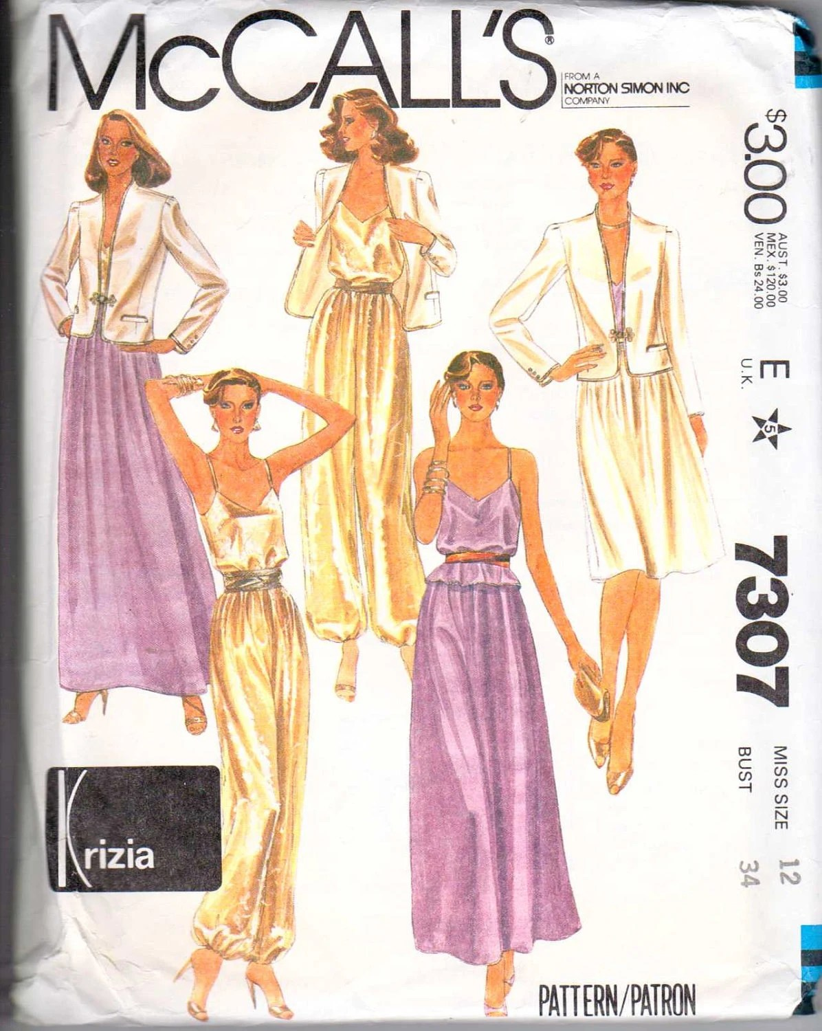 1980s Krizia evening separates pattern - McCall's 7307