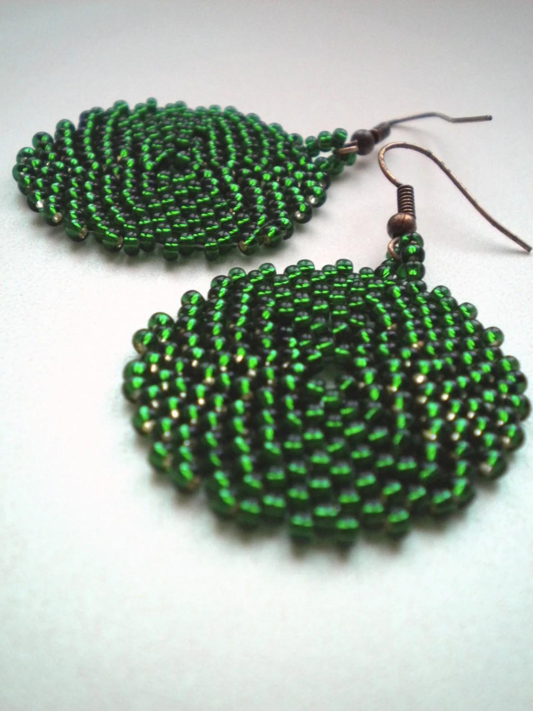 Emerald green round beaded earrings - MaaritJ