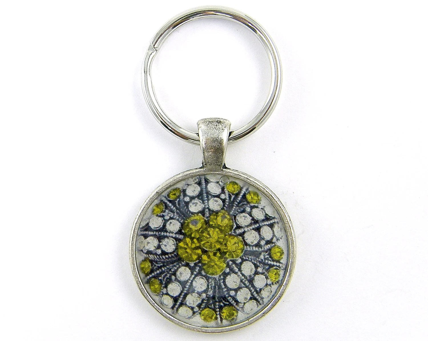 Jewel Keychain - Vintage Brooch Photo White Green Silver Round Resin Metal Key Ring Fob - CharleneSevier