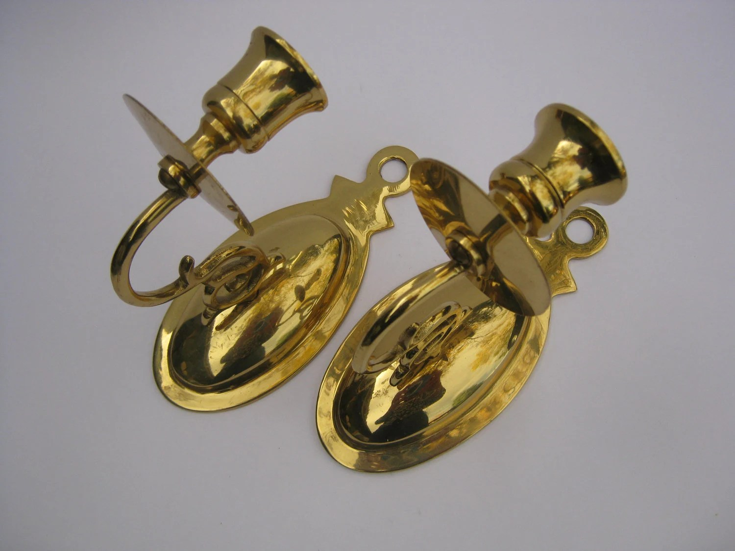 Brass Candle Holders Wall Sconces Vintage Pair of Brass on Wall Sconces Candle Holders id=99873