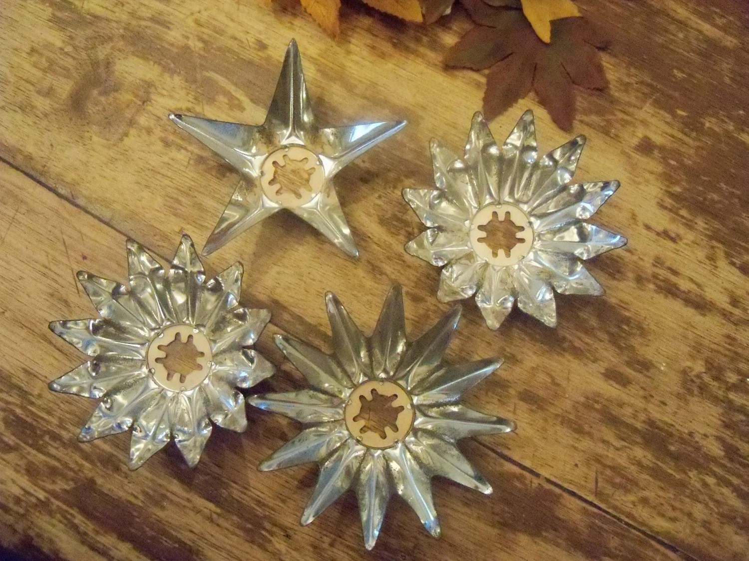 christmas light reflectors punched tin