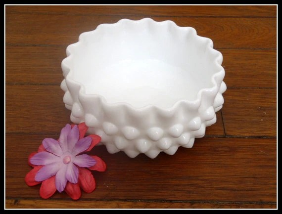Vintage White Milk Glass Hobnail Scalloped Decorative Bowl - Candy Dish