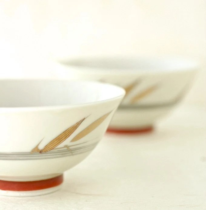 Vintage Japanese Rice Bowls Bamboo Leaf Gold Silver Cinnabar Chawan Bowl Set of TWO - TheOtherLifeVintage
