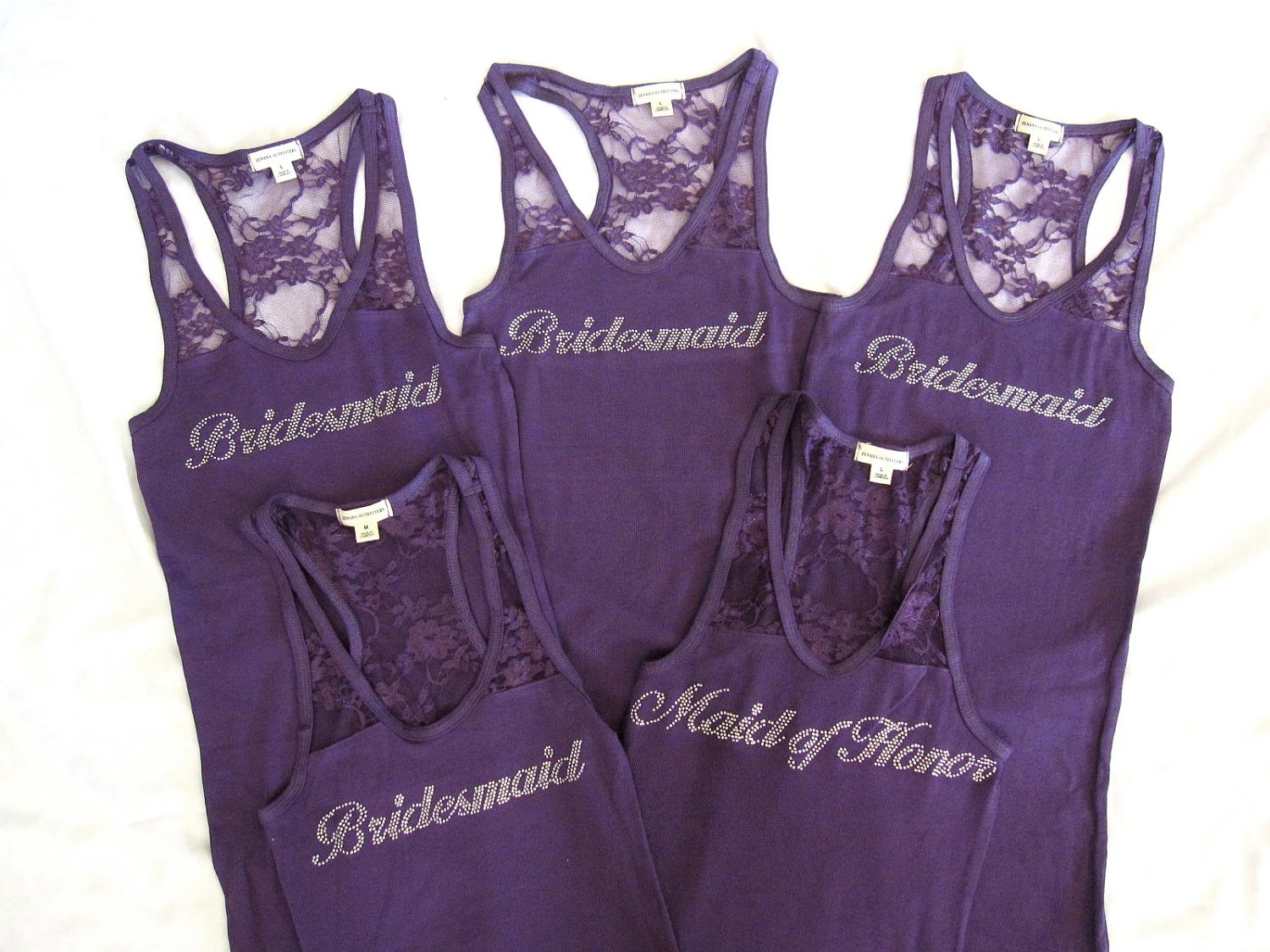 5 Bridesmaid Tank Top Shirt. Half Lace. Bride, Maid of Honor, Matron of Honor. Purple, Black, White, Pink, Coral, Tiffany Blue