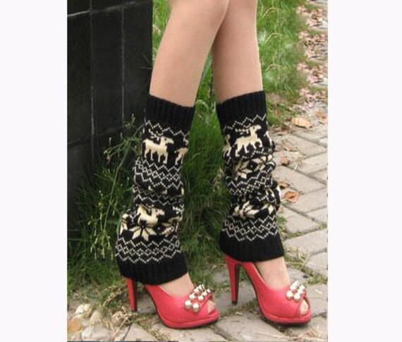 Black Crochet Flower Long Leg Warmers Lager Calves Leg Warmers Stretch Leg Socks(LL5)