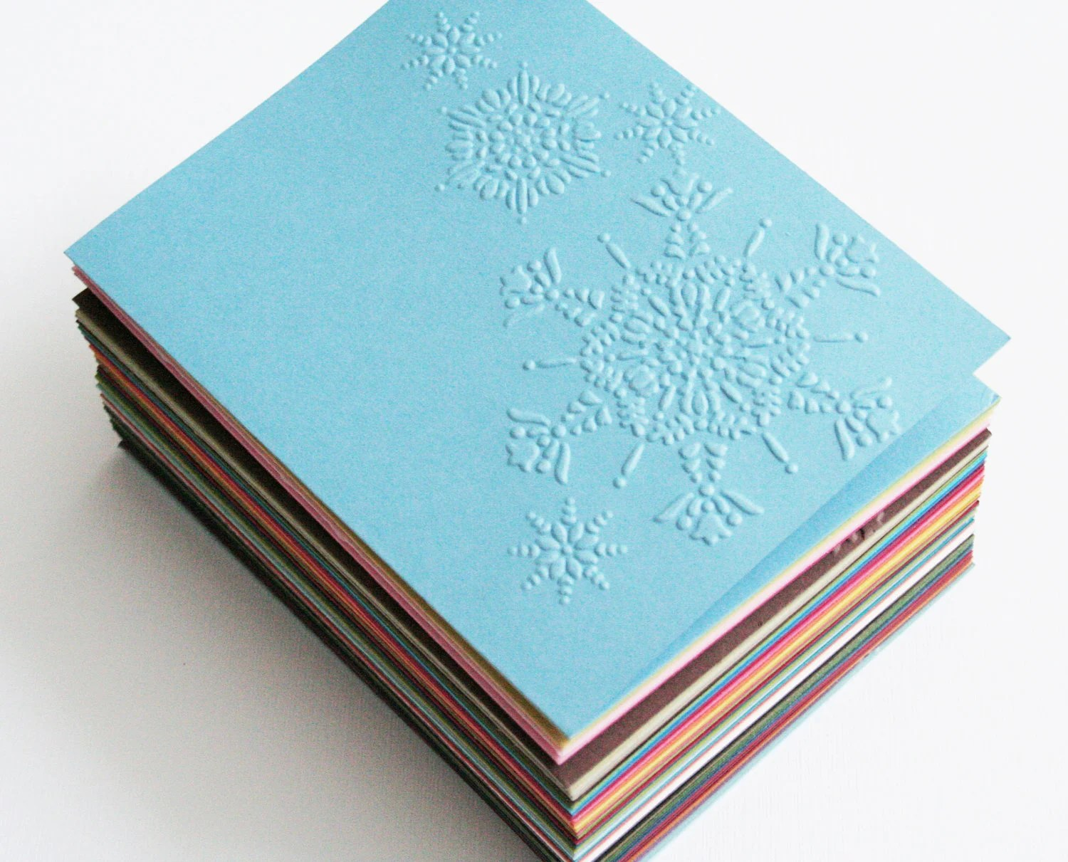 Blank cards with embossed Snowflakes - 50 color choices - diecut4you