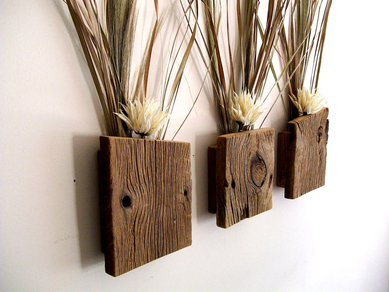 Set of 3 Rustic / Reclaimed / Barn Wood Wall Vase / Flower on Hanging Wall Sconces For Flowers id=60735
