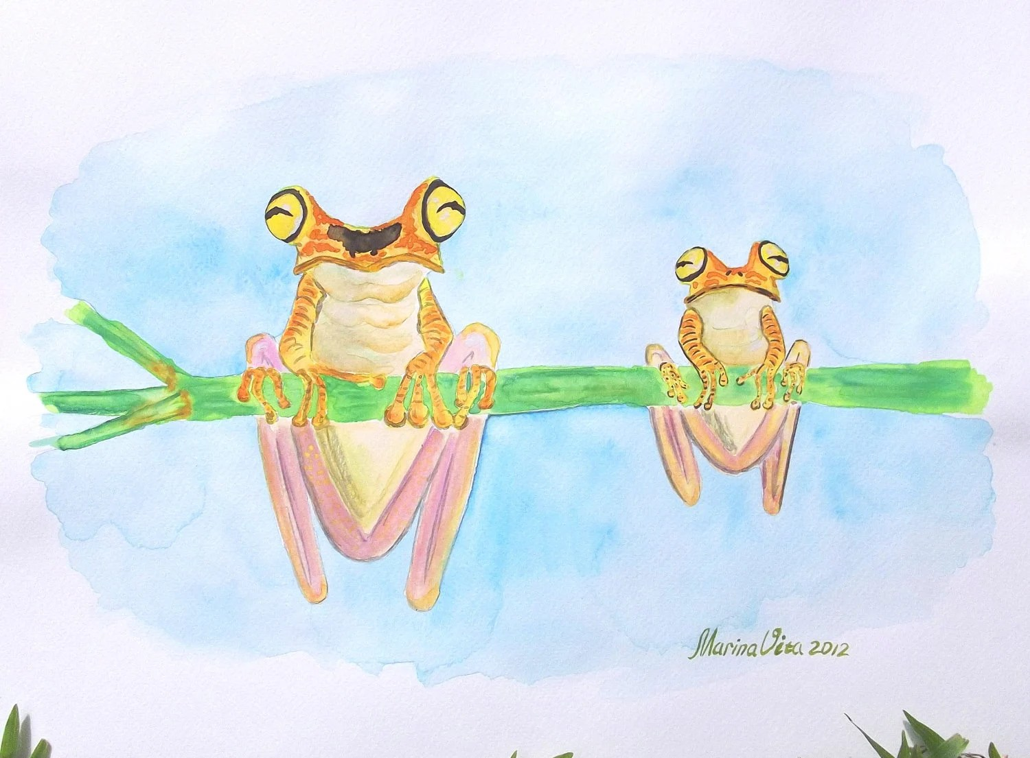 Original watercolor with a couple of tree frogs. Green, yellow, blue, nectarine, lemon. Mom and baby. for him. Prince and Princess Valentine - MarinaVita