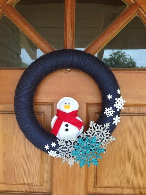 handmade snowman wreath - snojac