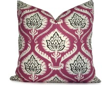 Modern Floral Pillow Cover in Purple, Black and White - Decorative Pillow Cover - Throw Pillow