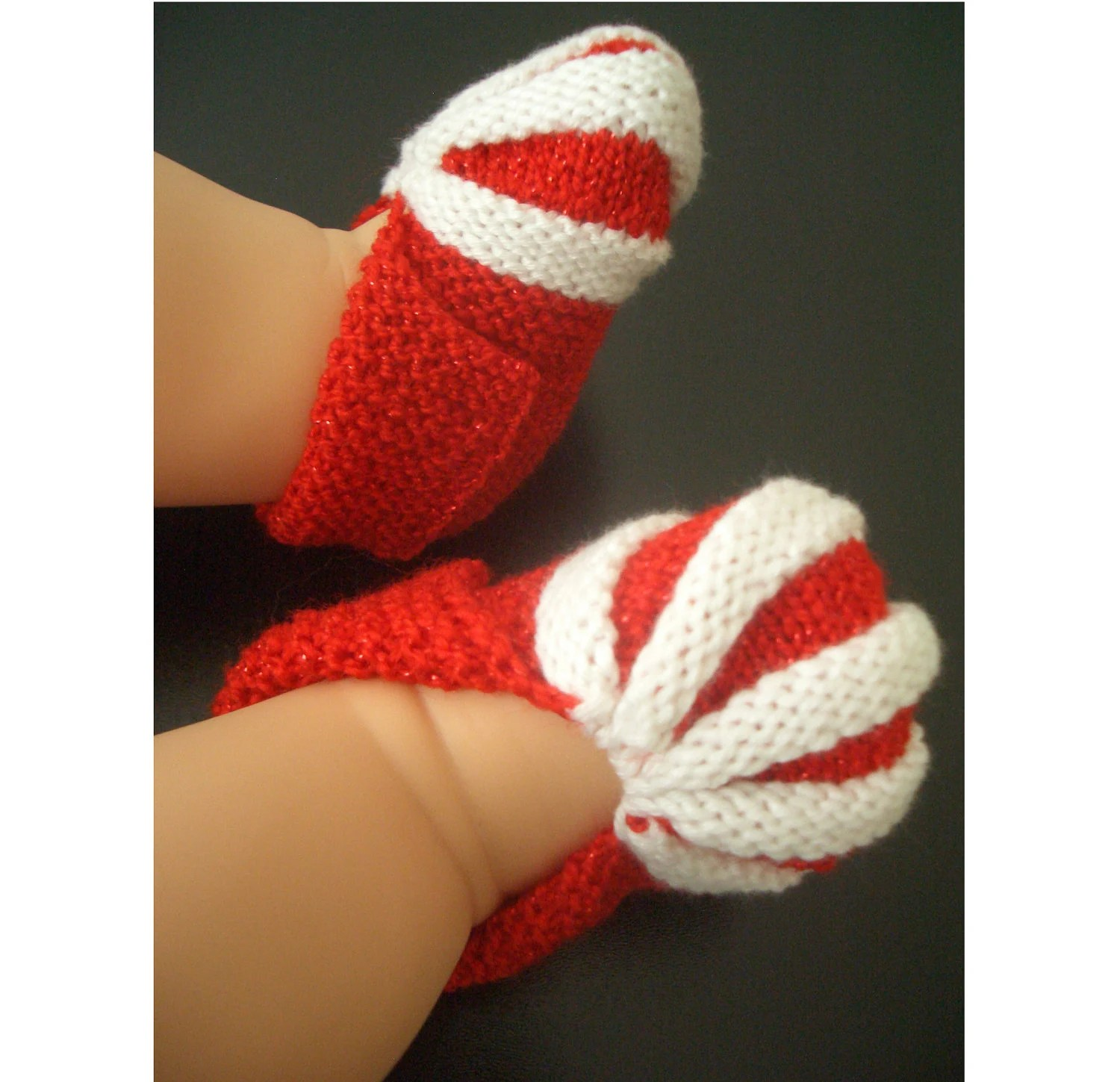 Candy Cane Holiday Baby Booties Knitting Pattern By Knitnplay