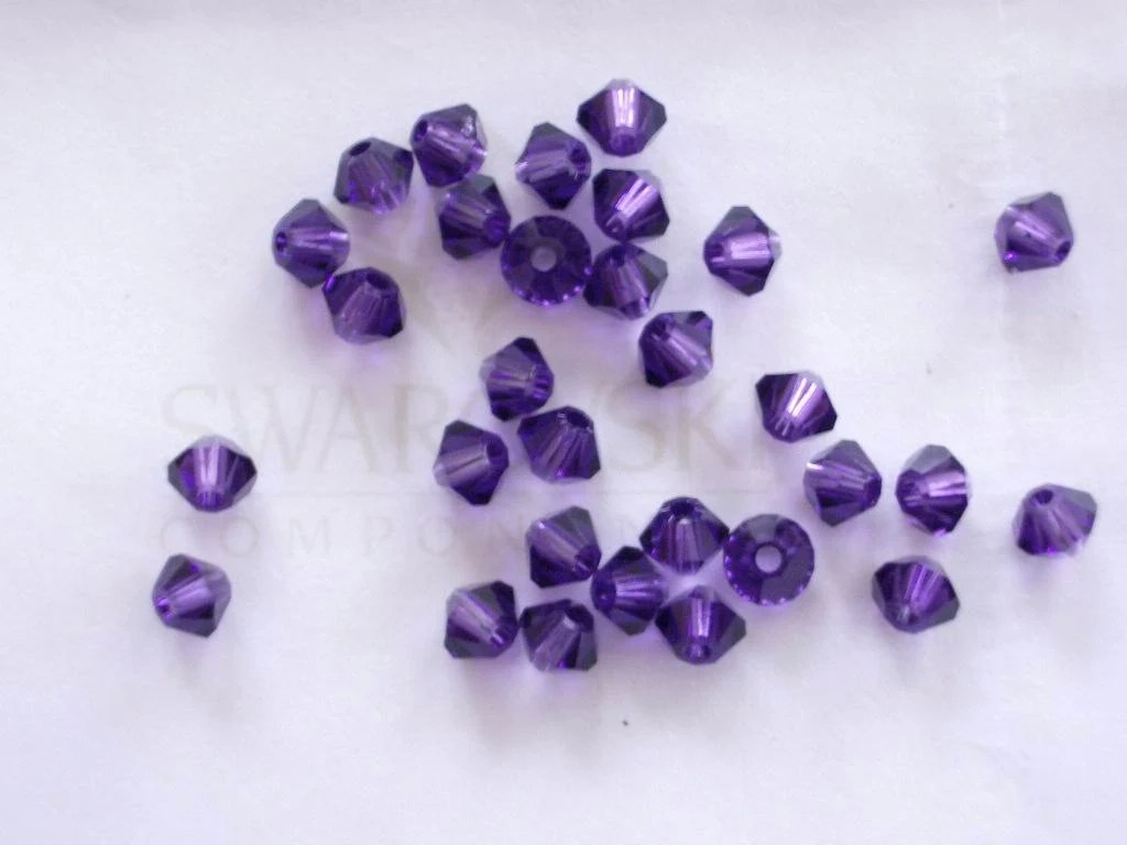 48 Purple Velvet Swarovski Crystal Beads Bicone 5328 3mm - BeadwareIL
