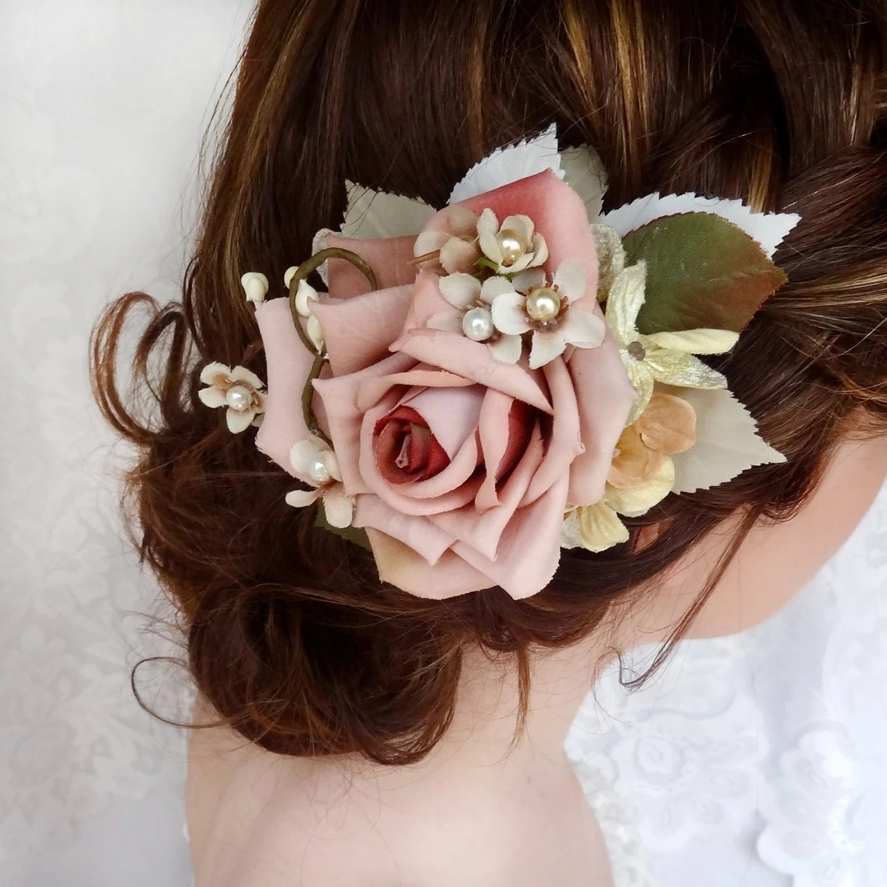 Bridal Hair Clip Dusty Pink Flower Hair Accessory Wedding