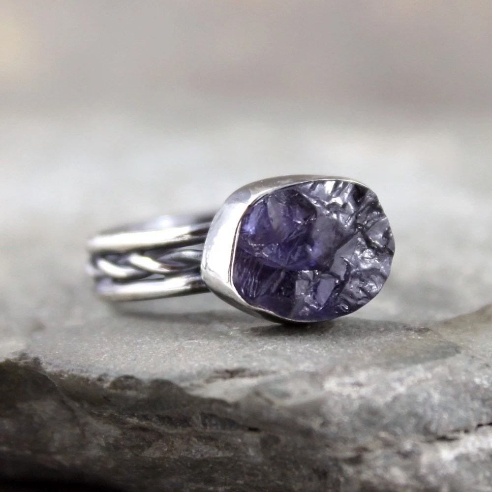 Iolite Ring Raw Uncut Rough Iolite Sterling Silver
