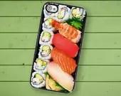 iPhone 4S Case Slim Profile  Sushi Bento Box Hard Case /Hard Case For iPhone 4 and iPhone 4S Japanese Sushi Plate  Rubber Trim - TheCuriousCaseLLC