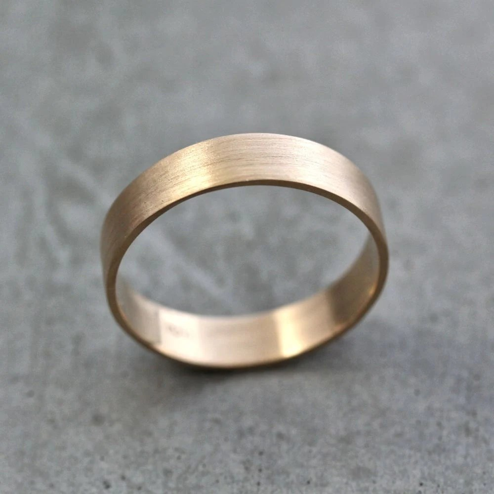 Mens Gold Wedding Band Unisex 5mm Wide Brushed Flat 10k
