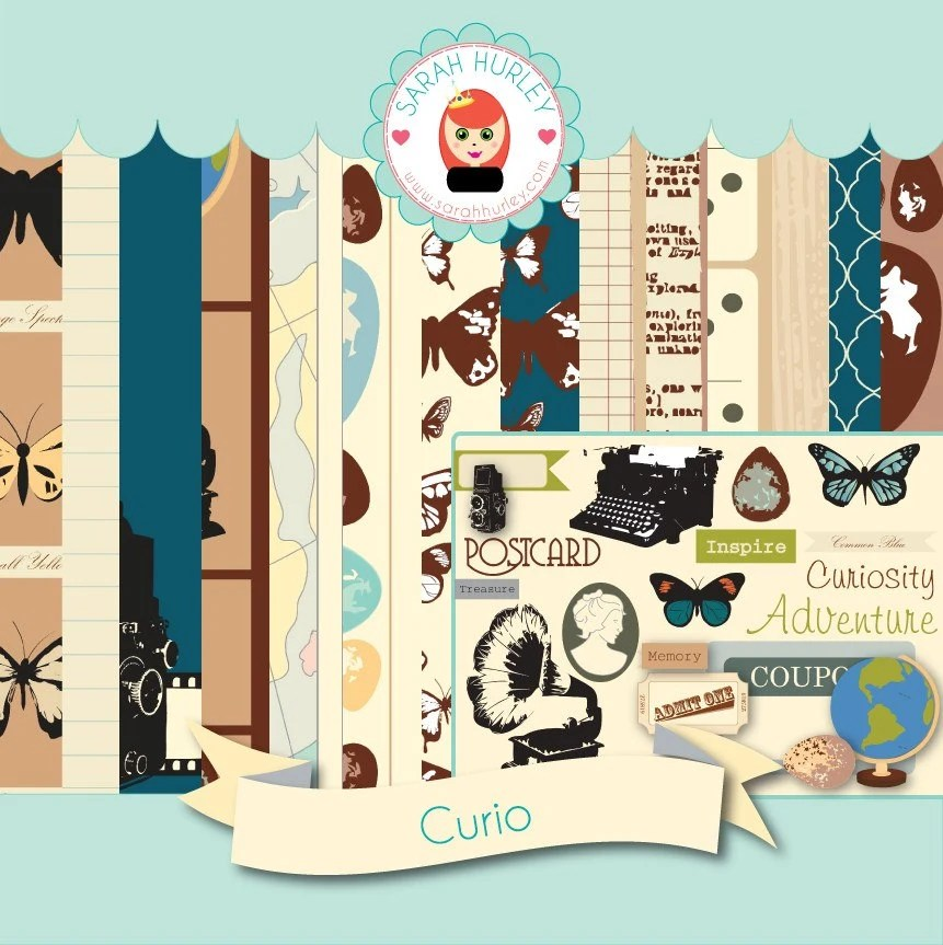 Curio Digital / Hybrid Scrapbooking / Craft Kit by Sarah Hurley Digital & Hybrid Scrapbooking / Cardmaking / Crafts